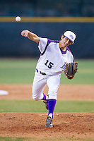 High Point Panthers starting pitcher John McGillicuddy (15) in action against the Coastal Carolina Chanticleers at Willard Stadium on March 14, 2014 in High Point, North Carolina.  The Panthers defeated the Chanticleers 3-0.  (Brian Westerholt/Four Seam Images)