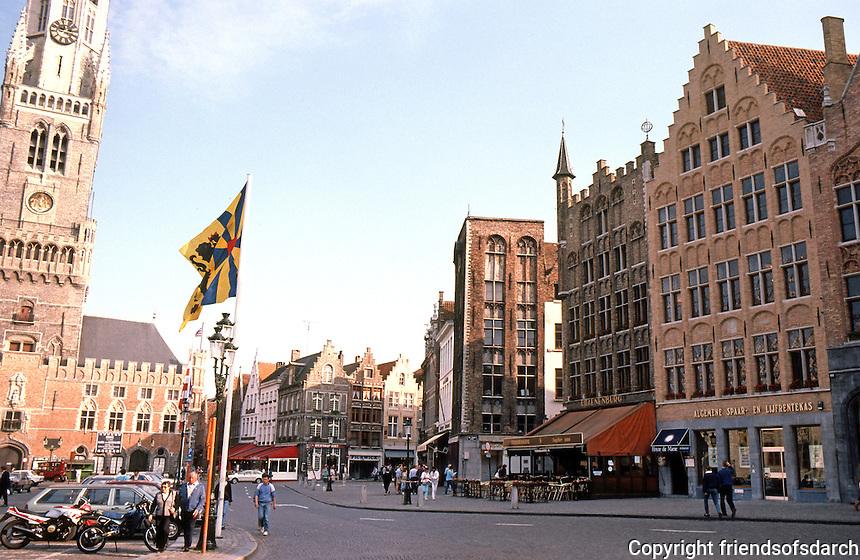 Bruges: The Markt (Market Place), Belfry to left.  Photo '87.