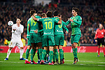 Players of Real Sociedad celebrate goal during La Liga match between Real Madrid and Real Sociedad at Santiago Bernabeu Stadium in Madrid, Spain. February 06, 2020. (ALTERPHOTOS/A. Perez Meca)