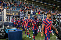 KANSAS CITY, KS - JULY 15: Miles Robinson #12, Shaq Moore #20, Matthew Hoppe #13, James Sands #16 and George Bello #21 of the United States walk out during a game between Martinique and USMNT at Children's Mercy Park on July 15, 2021 in Kansas City, Kansas.