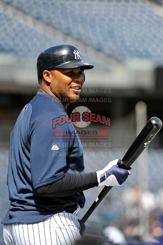 Apr 02, 2011; Bronx, NY, USA; New York Yankees outfielder Andruw Jones (18) before game against the Detroit Tigers at Yankee Stadium. Yankees defeated the Tigers 10-6. Mandatory Credit: Tomasso De Rosa