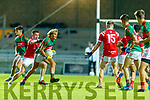 Fiachra Clifford, Mid Kerry in action against Dan O'Donoghue (Captain), East Kerry during the Kerry County Senior Football Championship Final match between East Kerry and Mid Kerry at Austin Stack Park in Tralee on Saturday night.