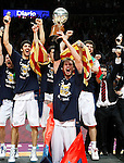 Caja Laboral Baskonia's players celebrate the victory in the ACB Finals. June 15,2010. (ALTERPHOTOS/Acero)