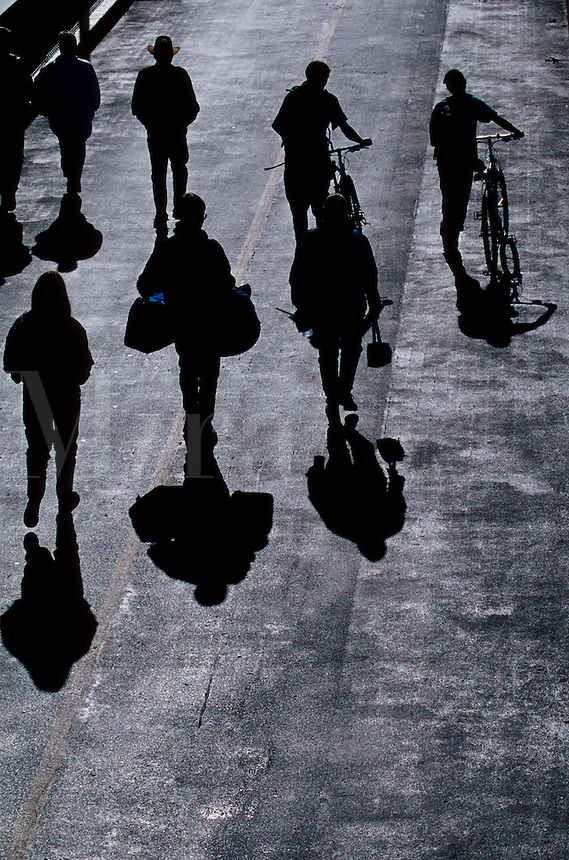 Overview of the silhouettes and shadows of a group of people walking and pushing bicycles.