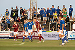 Arbroath v St Johnstone…21.07.21  Gayfield Park<br />Travelling saints fans watch the game<br />Picture by Graeme Hart.<br />Copyright Perthshire Picture Agency<br />Tel: 01738 623350  Mobile: 07990 594431