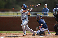 Jake Rowden (28) of the Catawba Indians at bat against the Queens Royals during game one of a double-header at Tuckaseegee Dream Fields on March 26, 2021 in Kannapolis, North Carolina. (Brian Westerholt/Four Seam Images)
