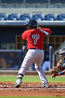 GCL Red Sox third baseman Roldani Baldwin (7) at bat during the first game of a doubleheader against the GCL Rays on August 4, 2015 at Charlotte Sports Park in Port Charlotte, Florida.  GCL Red Sox defeated the GCL Rays 10-2.  (Mike Janes/Four Seam Images)
