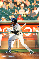 Dayton Dragons outfielder Andy Sugilio (5) follows through on a swing during a game against the Lansing Lugnuts at Cooley Law School Stadium on August 10, 2018 in Lansing, Michigan . Lansing defeated Dayton 11-4.  (Robert Gurganus/Four Seam Images)