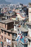 Nepal, Kathmandu.  Typical House Construction, Central Kathmandu.