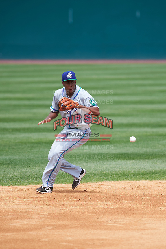 Hartford Yard Goats shortstop Luis Jean (17) fields a ground ball during a game against the Binghamton Rumble Ponies on July 9, 2017 at NYSEG Stadium in Binghamton, New York.  Hartford defeated Binghamton 7-3.  (Mike Janes/Four Seam Images)
