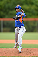 New York Mets pitcher Scarlyn Reyes (38) during a minor league spring training game against the St. Louis Cardinals on March 27, 2014 at the Port St. Lucie Training Complex in Port St. Lucie, Florida.  (Mike Janes/Four Seam Images)