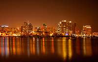 Lights from Hi Rises in San Diego Reflect upon San Diego Bay, California