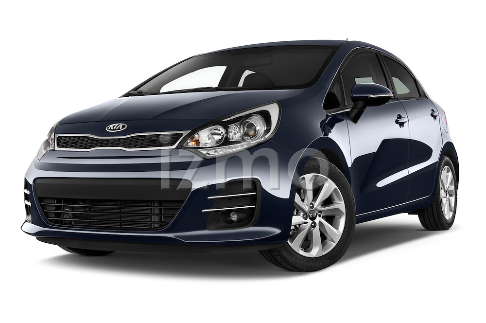 Stock pictures of low aggressive front three quarter view of2015 KIA Rio World Edition 5 Door Hatchback Low Aggressive