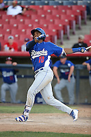 Yusniel Diaz (10) of the Rancho Cucamonga Quakes bats against the High Desert Mavericks at Heritage Field on August 7, 2016 in Adelanto, California. Rancho Cucamonga defeated High Desert, 10-9. (Larry Goren/Four Seam Images)