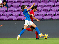 ORLANDO, FL - FEBRUARY 24: Gio #20 of Brazil fights for the ball with Jade Rose #3 of Canada during a game between Brazil and Canada at Exploria Stadium on February 24, 2021 in Orlando, Florida.