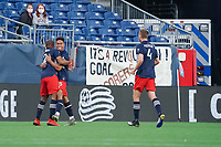 FOXBOROUGH, MA - MAY 1: Andrew Farrell #2 of New England Revolution, Brandon Bye #15 of New England Revolution and Henry Kessler #4 of New England Revolution celebrate the New England goal during a game between Atlanta United FC and New England Revolution at Gillette Stadium on May 1, 2021 in Foxborough, Massachusetts.