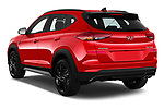 Car pictures of rear three quarter view of a 2019 Hyundai Tucson N-Line 5 Door SUV angular rear