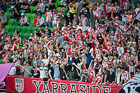 MELBOURNE, AUSTRALIA - NOVEMBER 14: Heart fans cheer on their team during the round 14 A-League match between the Melbourne Heart and Brisbane Roar at AAMI Park on November 14, 2010 in Melbourne, Australia (Photo by Sydney Low / Asterisk Images)