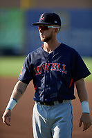 Lowell Spinners center fielder Cole Brannen (18) during warmups before a game against the Auburn Doubledays on July 13, 2018 at Falcon Park in Auburn, New York.  Lowell defeated Auburn 8-5.  (Mike Janes/Four Seam Images)