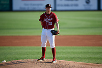 Altoona Curve starting pitcher Mitch Keller (35) looks in for the sign during a game against the Richmond Flying Squirrels on May 15, 2018 at Peoples Natural Gas Field in Altoona, Pennsylvania.  Altoona defeated Richmond 5-1.  (Mike Janes/Four Seam Images)