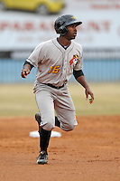 West Virginia Power left fielder Candon Myles #16 leads off second during game one of a double header against the Asheville Tourists at McCormick Field on April 8, 2014 in Asheville, North Carolina. The Power defeated the Tourists 6-5. (Tony Farlow/Four Seam Images)
