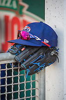 A players gear sits on the rail between innings as the Iowa Cubs played the Salt Lake Bees in in Pacific Coast League action at Smith's Ballpark on August 20, 2015 in Salt Lake City, Utah. The Cubs defeated the Bees 13-2. (Stephen Smith/Four Seam Images)