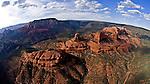 Red Rocks of Sedona Arizona Helicopter Aerial Fisheye View one frame of a 5 shot 360 degree spherical panorama