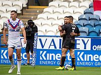 22nd August 2020; The John Smiths Stadium, Huddersfield, Yorkshire, England; Rugby League Coral Challenge Cup, Catalan Dragons versus Wakefield Trinity; Fouad Yaha of Catalan Dragons is congratulated by David Mead after scoring Catalans second try