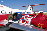Kit Bags lying on Wing of Canadian Forces Snowbird - at Abbotsford International Airshow, BC, British Columbia, Canada