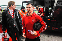 Fleetwood Town's midfielder Jason Holt (4) arriving for the Sky Bet League 1 match between Doncaster Rovers and Fleetwood Town at the Keepmoat Stadium, Doncaster, England on 6 October 2018. Photo by Stephen Buckley / PRiME Media Images.