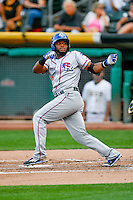 Hanser Alberto (8) of the Round Rock Express at bat against the Salt Lake Bees in Pacific Coast League action at Smith's Ballpark on August 15, 2016 in Salt Lake City, Utah. Round Rock defeated Salt Lake 5-4.  (Stephen Smith/Four Seam Images)