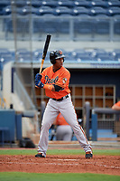 Baltimore Orioles Jean Carmona (52) at bat during a Florida Instructional League game against the Tampa Bay Rays on October 1, 2018 at the Charlotte Sports Park in Port Charlotte, Florida.  (Mike Janes/Four Seam Images)