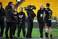 Skysport's Ian Smith interviews Ricky Riccitelli after the Super Rugby match between the Hurricanes and Waratahs at Westpac Stadium in Wellington, New Zealand on Saturday, 7 April 2017. Photo: Dave Lintott / lintottphoto.co.nz