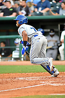 Southern Divisions catcher MJ Melendez (7) of the Lexington Legends swings at a pitch during the South Atlantic League All Star Game at First National Bank Field on June 19, 2018 in Greensboro, North Carolina. The game Southern Division defeated the Northern Division 9-5. (Tony Farlow/Four Seam Images)