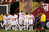 New York Red Bulls players celebrate an own goal by the New England Revolution during the first half. The New York Red Bulls  and the New England Revolution played to a 1-1 tie during a Major League Soccer match at Giants Stadium in East Rutherford, NJ, on March 28, 2009. Photo by Howard C. Smith/isiphotos.com