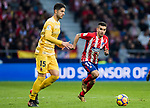 Angel Correa (R) of Atletico de Madrid competes for the ball with Juan Pedro Ramirez Lopez, Juanpe, of Girona FC during the La Liga 2017-18 match between Atletico de Madrid and Girona FC at Wanda Metropolitano on 20 January 2018 in Madrid, Spain. Photo by Diego Gonzalez / Power Sport Images