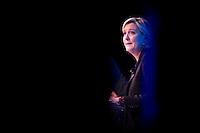 MARINE LE PEN ASSISTE AU FORUM DE LA FEDERATION NATIONALE DES TRAVAUX PUBLICS, LE 23 FEVRIER 2017 A PARIS.