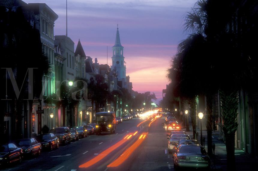 AJ1575, Charleston, South Carolina, City lights in the evening on Broad Street in downtown Charleston, South Carolina.