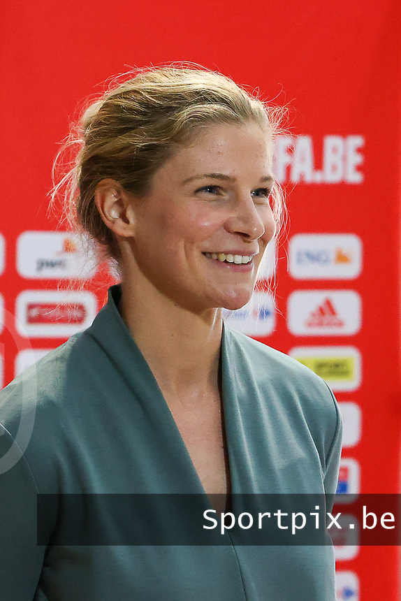 Belgium's midfielder Justine Vanhaevermaet pictured during an interview at after the qualifying group stage draw for FIFA Women's World Cup 2023, at Royal Belgian   . PHOTO: SPORTPIX.BE | SPP | SEVIL OKTEM