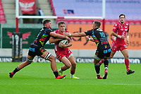 Kieran Hardy of Scarlets in action during the Guinness Pro14 Round 02 match between the Scarlets and Zebre Rugby at the Parc Y Scarlets Stadium in Llanelli, Wales, UK. Saturday 12 October 2019