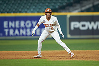 Trey Faltine (0) of the Texas Longhorns takes his lead off of first base against the Missouri Tigers in game eight of the 2020 Shriners Hospitals for Children College Classic at Minute Maid Park on March 1, 2020 in Houston, Texas. The Tigers defeated the Longhorns 9-8. (Brian Westerholt/Four Seam Images)