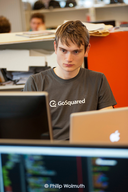Geoff Wagstaff at GoSquared, a real -time web analytics start-up he founded with two schoolfriends in 2006, at the age of 15.  Its shared workspace in Clerkenwell, London, is close to the area known as Silicon Roundabout, which is undergoing gentrification as it becomes a centre for web-based companies and IT start-ups.