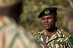Head park scout, Simon Wishikoti, leading anti-poaching patrol, Kafue National Park, Zambia