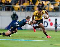 30th April 2021; Wellington, New Zealand;  Hurricanes Salesi Rayasi breaks tackles.  Hurricanes versus  Highlanders, Super Rugby, Sky Stadium, Wellington New Zealand, Friday 30 April 2021.