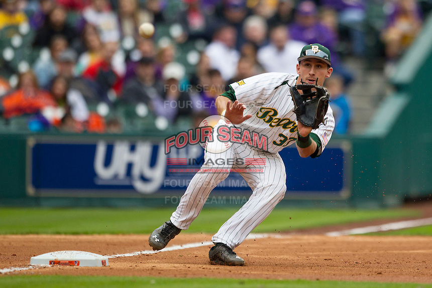 Baylor Bears third baseman Jonathan Ducoff (37) waits for a throw from the catcher during the NCAA baseball game against the LSU Tigers on March 7, 2015 in the Houston College Classic at Minute Maid Park in Houston, Texas. LSU defeated Baylor 2-0. (Andrew Woolley/Four Seam Images)