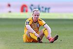 20.02.2021, xtgx, Fussball 3. Liga, FC Hansa Rostock - SV Waldhof Mannheim, v.l. Dennis Jastrzembski (Mannheim) enttaeuscht, schaut enttaeuscht, niedergeschlagen, disappointed <br /> <br /> (DFL/DFB REGULATIONS PROHIBIT ANY USE OF PHOTOGRAPHS as IMAGE SEQUENCES and/or QUASI-VIDEO)<br /> <br /> Foto © PIX-Sportfotos *** Foto ist honorarpflichtig! *** Auf Anfrage in hoeherer Qualitaet/Aufloesung. Belegexemplar erbeten. Veroeffentlichung ausschliesslich fuer journalistisch-publizistische Zwecke. For editorial use only.