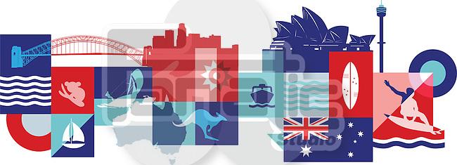 Illustrative collage of tourist attractions in Australia