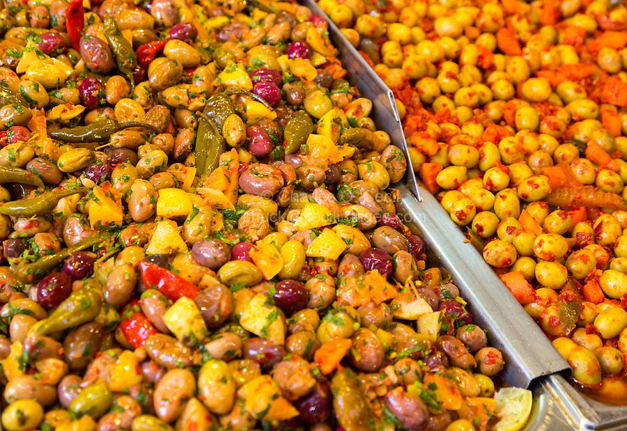 Fes, Morocco.  Olives for Sale in the Souk, Fes El-Bali.