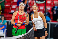 The Hague, The Netherlands, Februari 7, 2020,    Sportcampus, FedCup  Netherlands -  Balarus, Seccond match on friday:  Aranxta Rus (NED) vs Aryna Sabalenka (BLR) (L)<br /> Photo: Tennisimages/Henk Koster