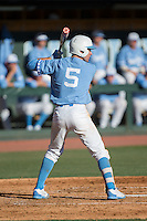 Brian Miller (5) of the North Carolina Tar Heels at bat against the Kentucky Wildcats at Boshmer Stadium on February 17, 2017 in Chapel Hill, North Carolina.  The Tar Heels defeated the Wildcats 3-1.  (Brian Westerholt/Four Seam Images)